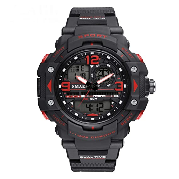 Beydodo Reloj de Doble Pantalla Reloj Hombre Moda Reloj Adolescente Reloj Hombre Luminoso Reloj Impermeable Reloj Deportivo Relojes Electronicos Rojo: ...