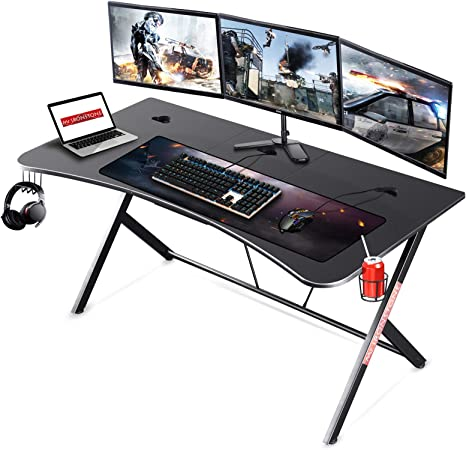 Amazon Com Mr Ironstone Large Gaming Desk 63 W X 32 D Home Office Computer Table Black Gamer Workstation With Cup Holder Headphone Hook And 3 Cable Management Holes Kitchen Dining