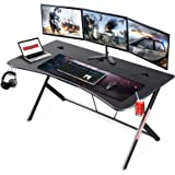 """Mr IRONSTONE Large Gaming Desk 63"""" W x 32"""" D Home Office Computer Table, Black Gamer Workstation with Cup Holder…"""