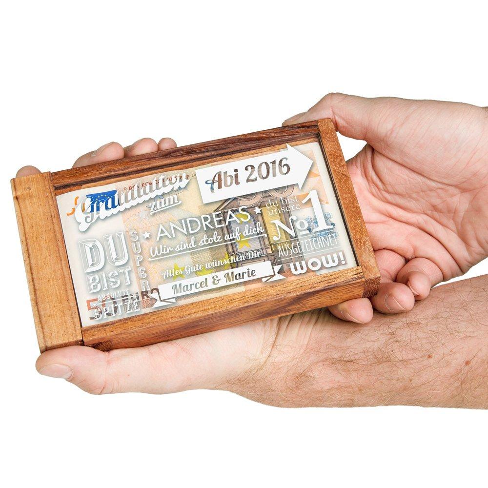 Magische Geldgeschenkbox zum Abitur mit personalisierter Gravur - Geschenke zum Abitur