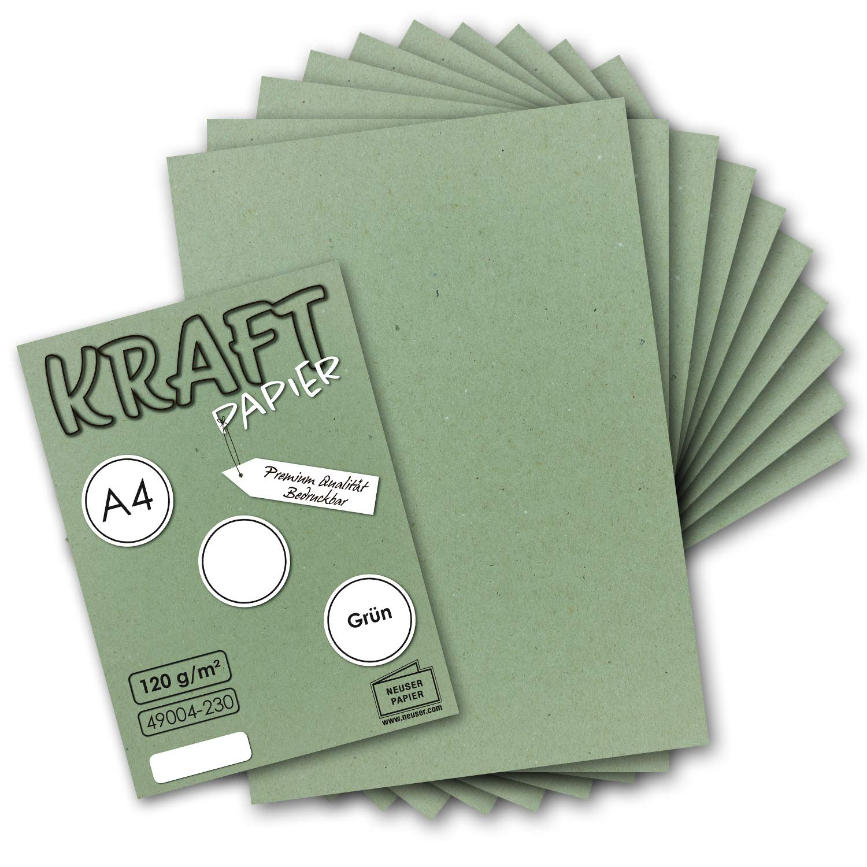 Briefpapier 100 Blatt Vintage Kraftpapier in Hellgr/ün DIN A4 120 g//m/² Hellgr/ünes Recycling-Papier UmWelt by GUSTAV NEUSER/® 100/% /ökologisch Brief-Bogen