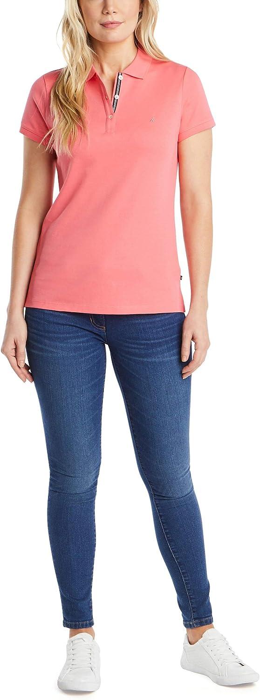 Nautica Womens 3-Button Short Sleeve Breathable 100/% Cotton Polo Shirt Polo Shirt
