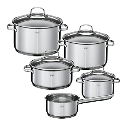 Cookware, Dining & Bar Home, Furniture & Diy Useful Stainless Steel 5pc Cookware Casserole Stockpot Pot Hob Set With Glass Lids Reputation First