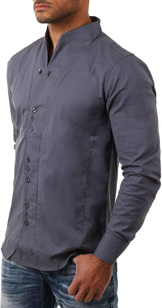 Carisma - Camisa de cuello alto de manga larga para hombre, ajustada, entallada, para fiestas, clubes, informal, monocromo gris oscuro XL: Amazon.es: Ropa y accesorios