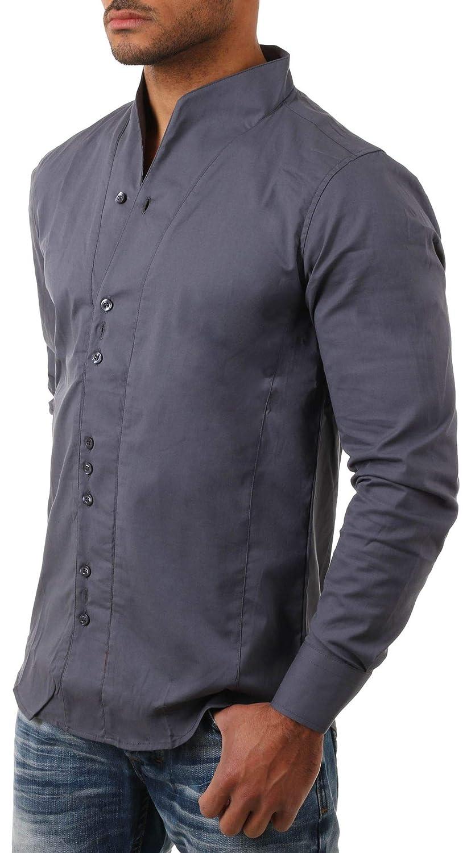 CARISMA Herren Uni Langarm Stehkragen Hemd Slimfit tailliert figurbetont Party Club Look Optik Freizeit Casual einfarbig Basic