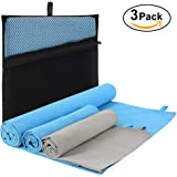 "Microfiber Travel Towel 3 Pack, Quick Drying Absorbent Neck Headband Large (28.7"" X 51.1"") with Hand/Face Towel (15.7""X29.5"") & Mesh Bag Cooling Accessories for Outdoor Sports, Workout, Fitness, Yoga"