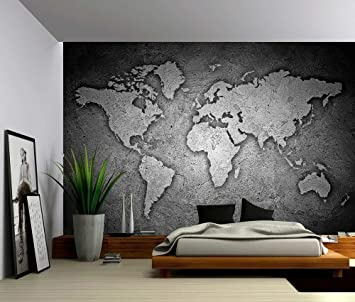 Amazon picture sensations canvas texture wall mural black picture sensations canvas texture wall mural black and white stone texture world map self gumiabroncs Choice Image