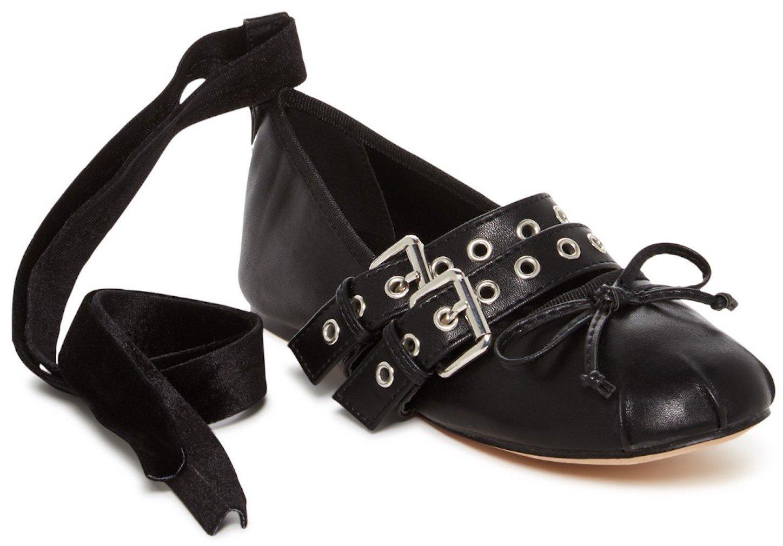 CATHERINE CATHERINE MALANDRINO Priscilla Womens Fashion Edgy Double Buckle Mary Janes, Black, Size 7, US