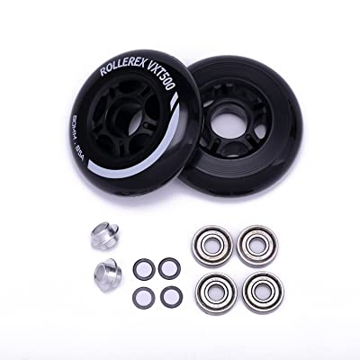 Rollerex VXT500 Inline Skate Wheels (2-Pack w/Bearings, spacers and washers) : Sports & Outdoors