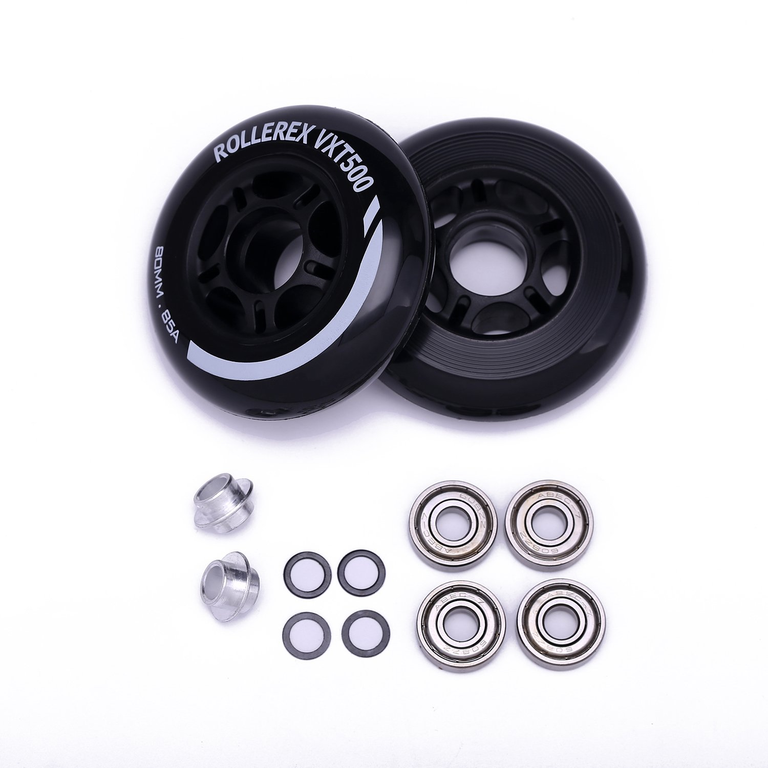 Rollerex VXT500 Inline Skate/Rollerblade Wheels (2-Pack w/Bearings, spacers and washers)