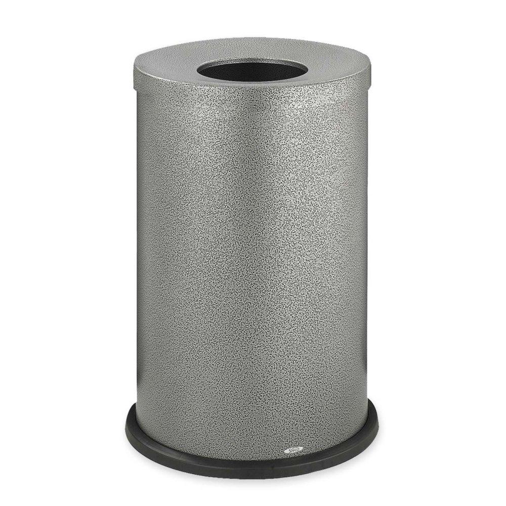 Safco Open Top Receptacle,35 Gallon,19-3/4''x28-1/2'',Black/Silver