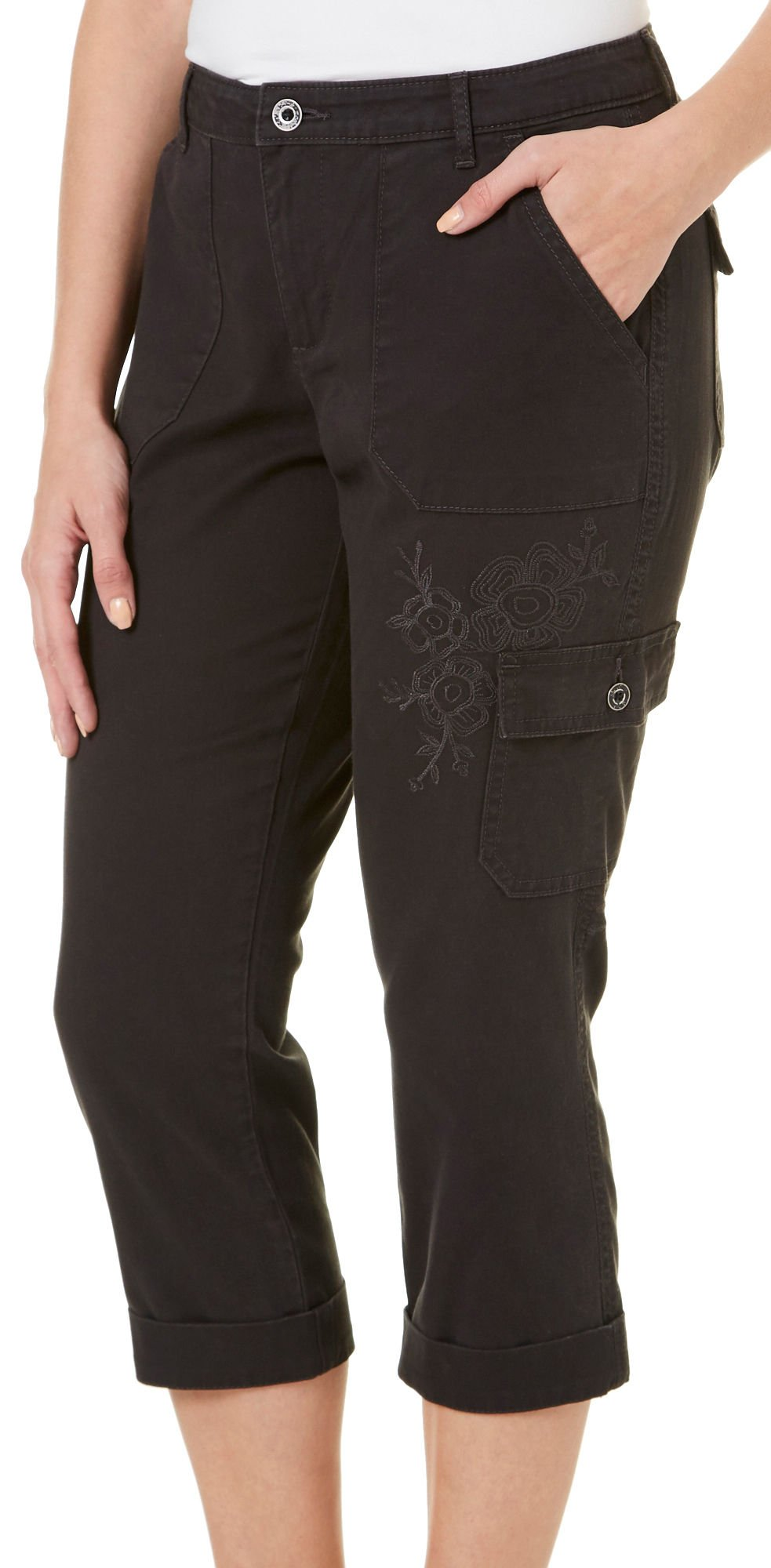LEE Women's Petite Straight Fit Embroidered Bohemian Cargo Capri Pant, Ink, 14