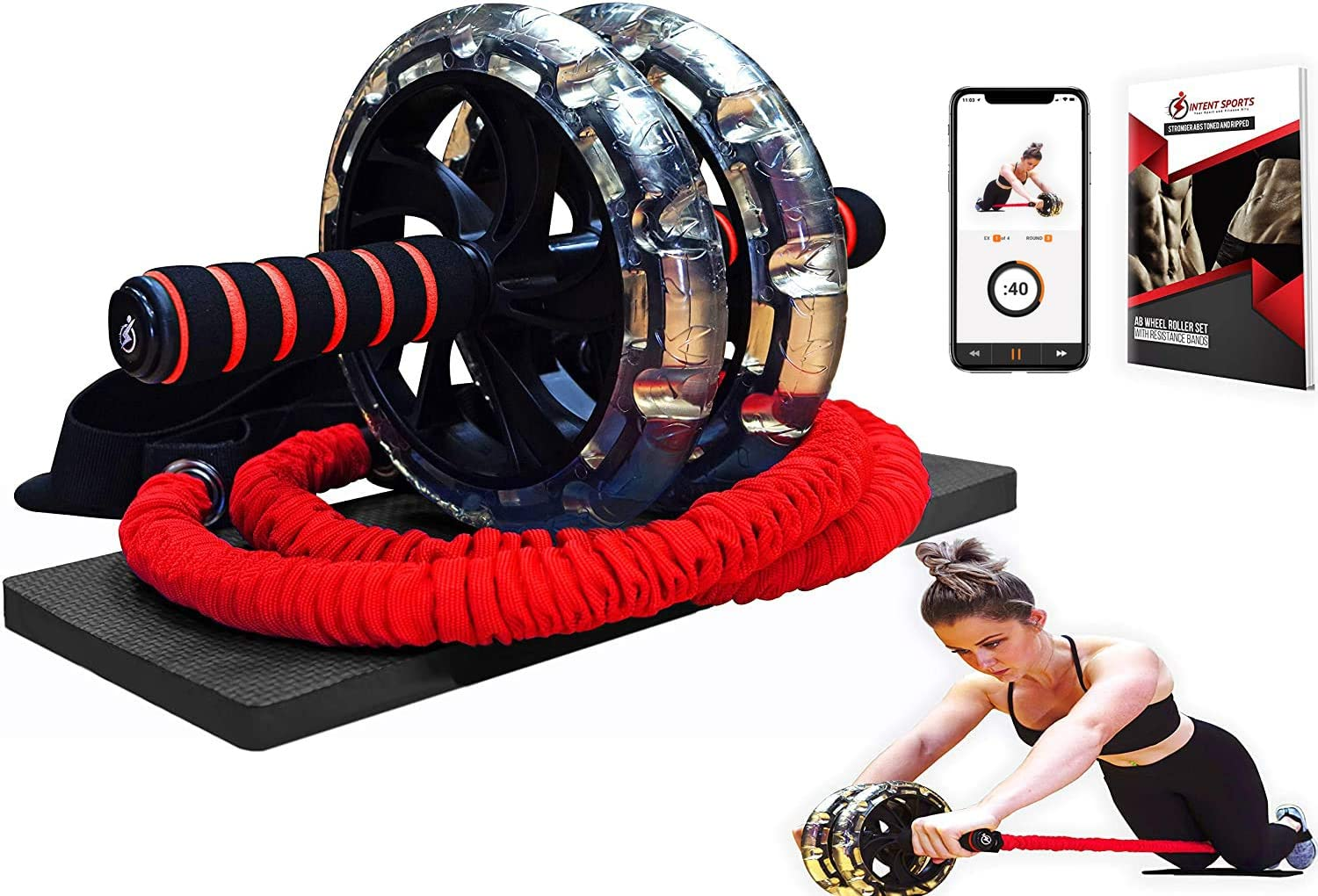 INTENT SPORTS Multi Functional Abdominal Workout Wheel Roller with Large Wheels for Stability