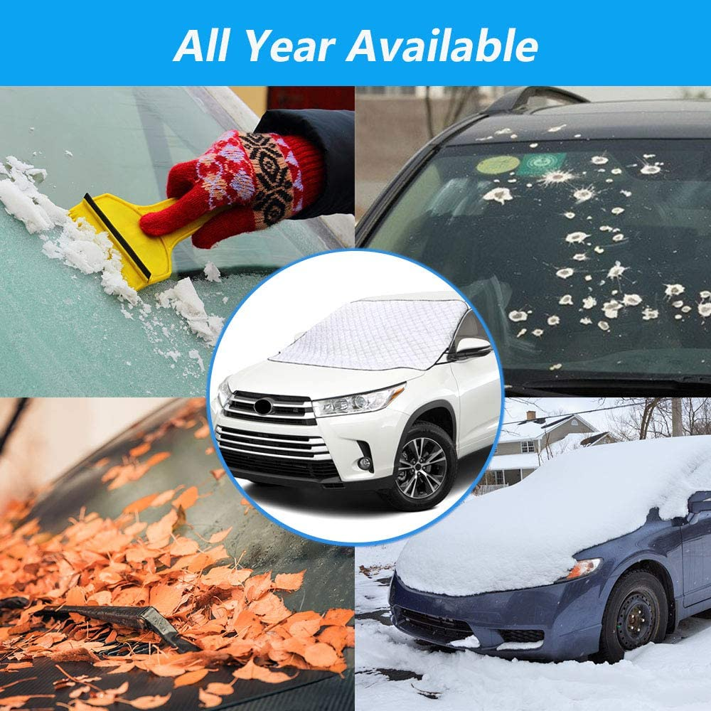 UV and Frost Windshield Snow Cover,Car Windshield Snow Cover with 5 Layers Protection,Windshield Cover for Ice and Snow Fits for Cars,SUV,Van,Windshield Snow Cover Magnetic Defense Snow silver Ice