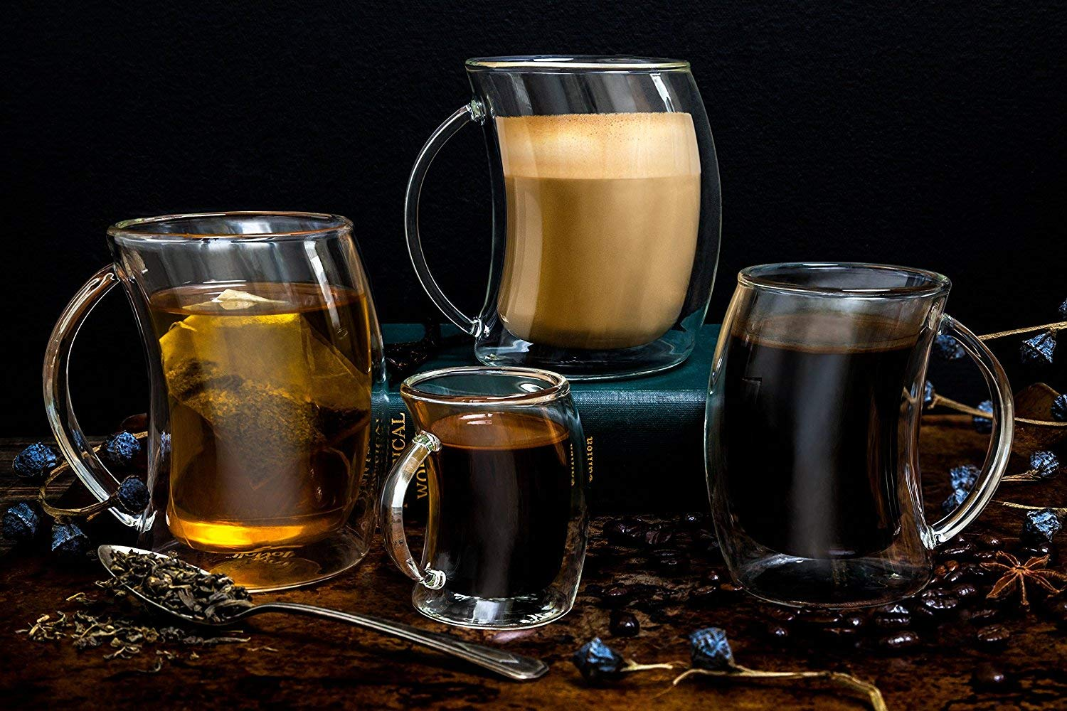 10 oz, 300ml JoyJolt Caleo Collection Glass Coffee Cups Double Wall Insulated Mugs Set of 2 Glasses
