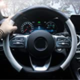 ZATOOTO Steering Wheel Cover D Cut - Car Pu Leather Black White Flat Bottom Sports D Shaped for Women Men Universal 15 Inch T
