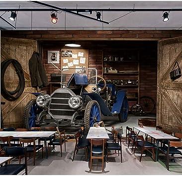 Guyuell Home Bar Cafe Decoración Papeles De Pared Retro 3D Coche ...