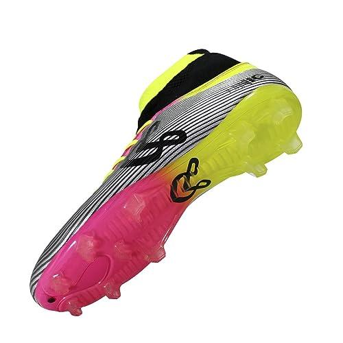 6ebfa850454e7 Unicsport UNIC Zapato de Futbol Modelo Dune Tacos Color Plata-Rosa-Amarillo  Talla 25