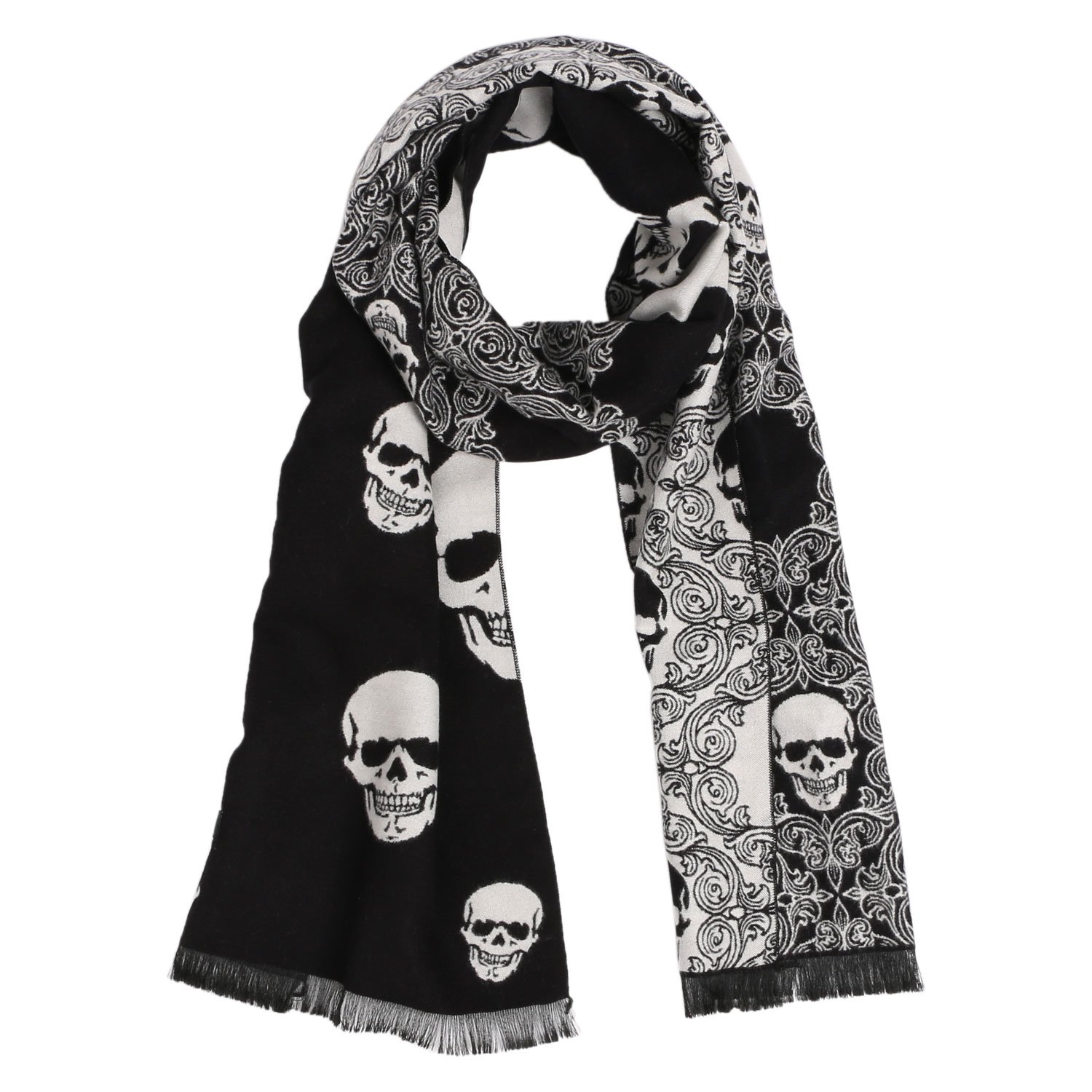 Landisun Scarf Shawl Skull Men's Winter Warm Long Soft Elegant Classical Tassels (Black White)