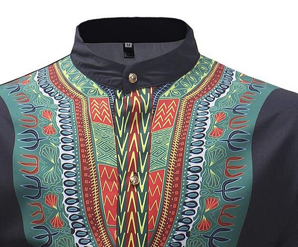 XiaoTianXinMen XTX Men Casual Long Sleeve Plus Size African Print Button Up Dress Work Shirt