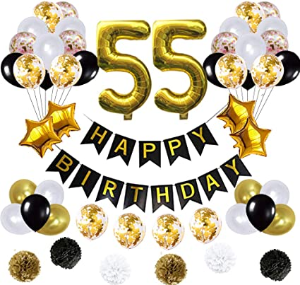 Amazon.com: 55 globos de decoración de cumpleaños, póster de ...