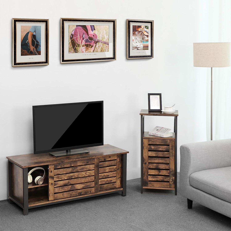 110 x 40 x 45 cm Chambre Couloir avec Portes coulissantes et 2 /étag/ères VASAGLE Meuble TV Buffet Bas Vintage LTV41BX pour Salon Cadre en Fer