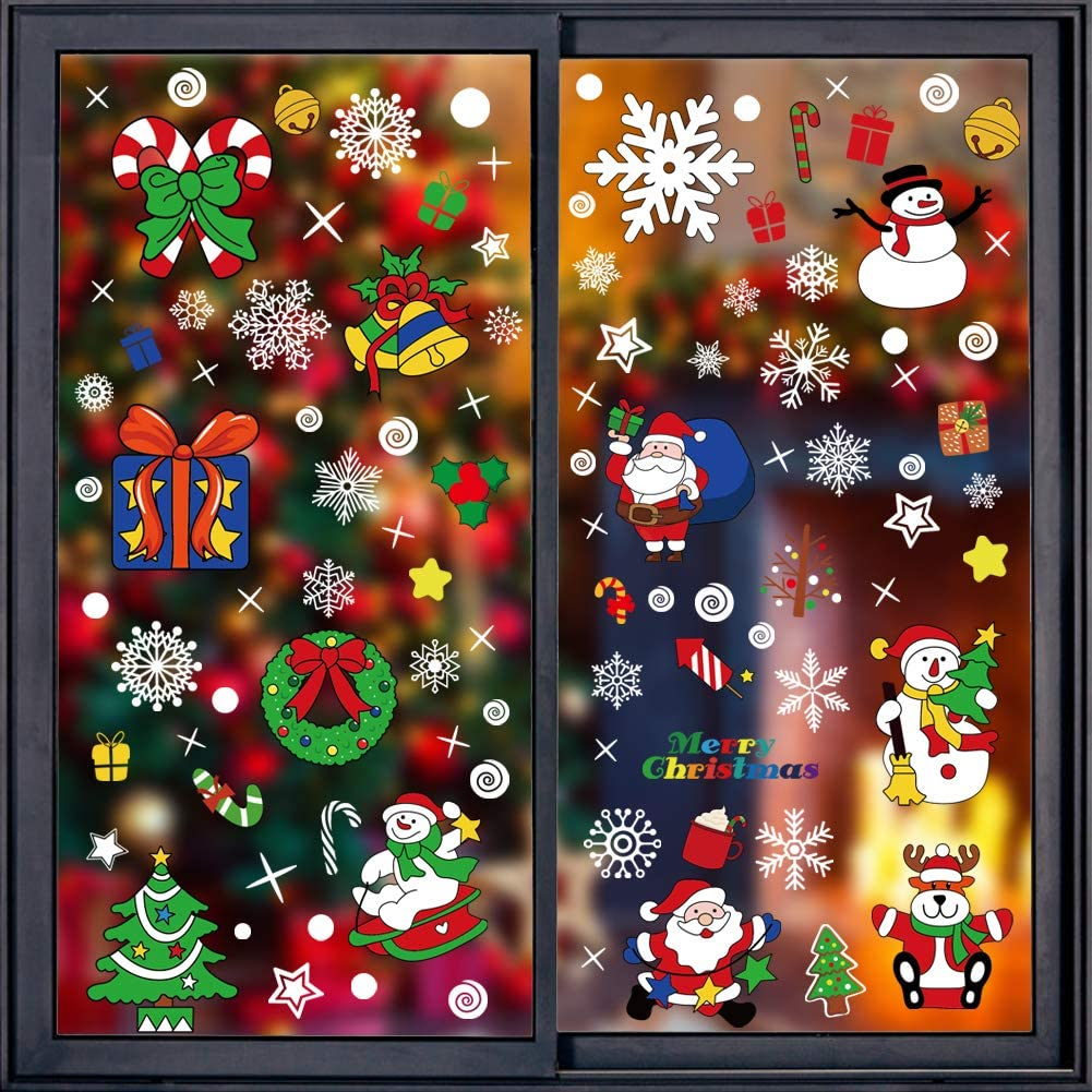 146 Pcs Christmas Window Clings Christmas Window Stickers Snowflake Window Clings Decals for Christmas Decorations Holiday Decorations Ornaments Party Supplies 8 Sheets