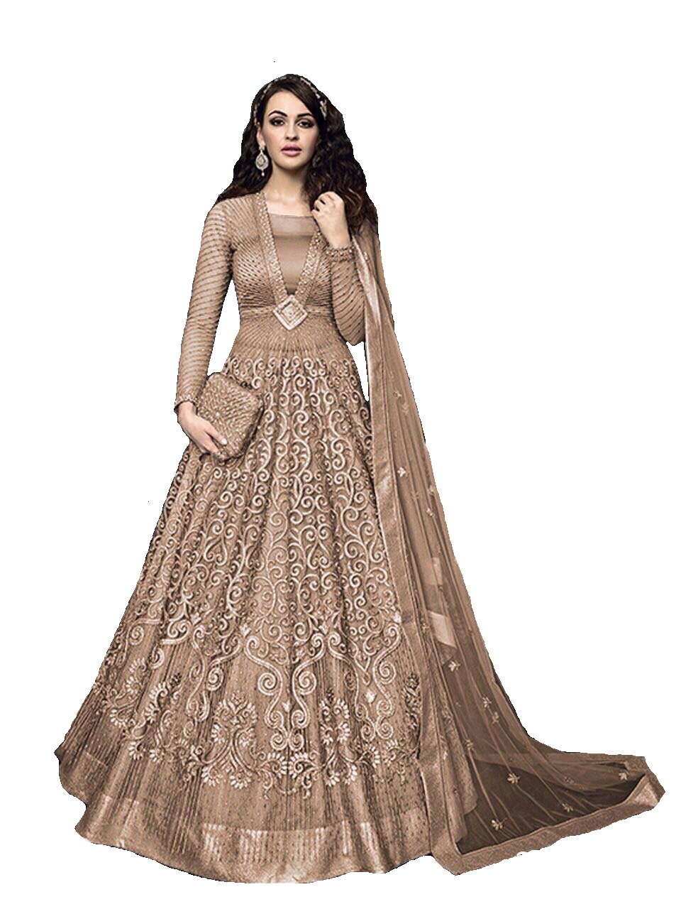 Ready Made Designer Indian Wear Anarkali Suit Party Wear Zoya 3 (Brown, XL-44)