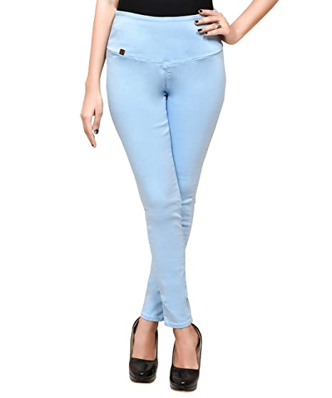 1af081f9f5fa8 MISS BEBO Women's Light Blue Solid Denim Ankle Length Jeggings(Jeggings_HELLOZEN_30_Light  Blue_30)