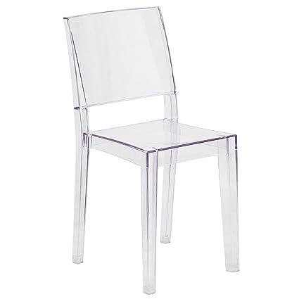 Pantom Chair amazon com flash furniture phantom series transparent stacking side