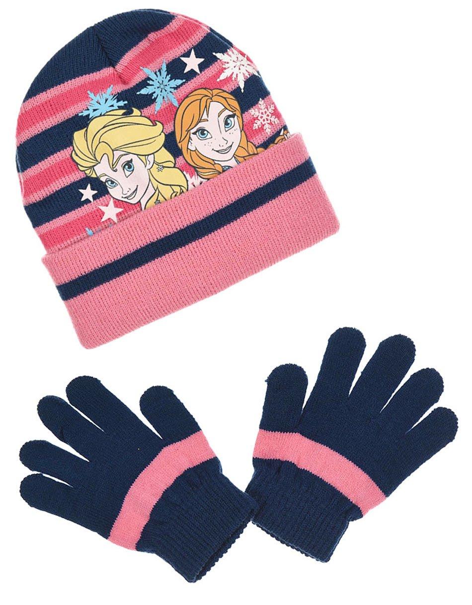 La Reine des Neiges Mädchen Handschuh-Set blau Marineblau/Rosa 6-9 Jahre