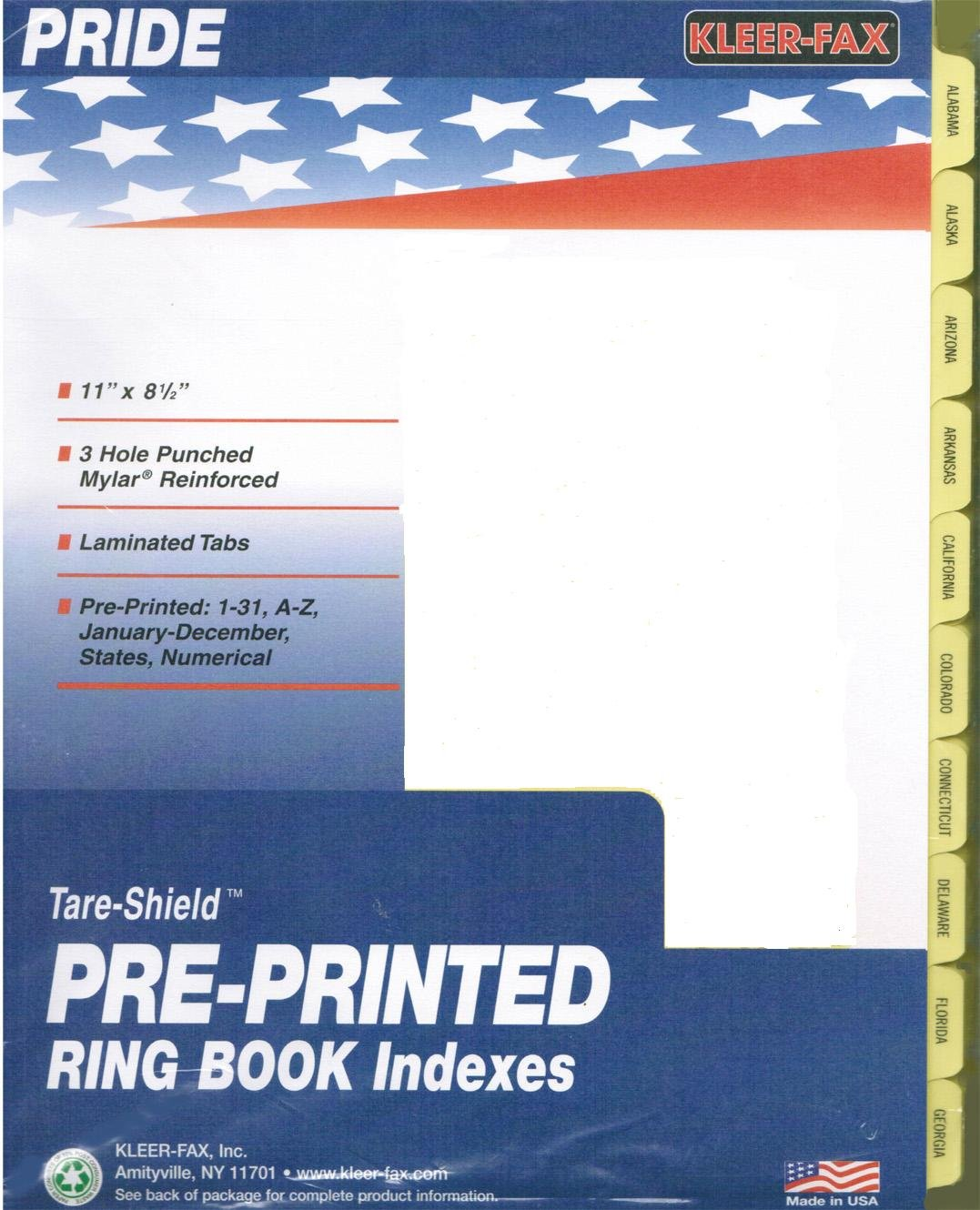 Ring Book Index Dividers, States Pre-Printed on Tabs, for 8.5 x 11 Sheets - Full Set