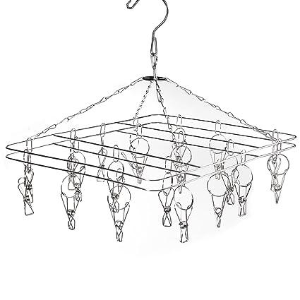 BoRui Étendoir à linge à suspendre avec 36 pinces en acier inoxydable à l'épreuve du vent pour chaussettes//sous-vêtements//vêtements//serviettes