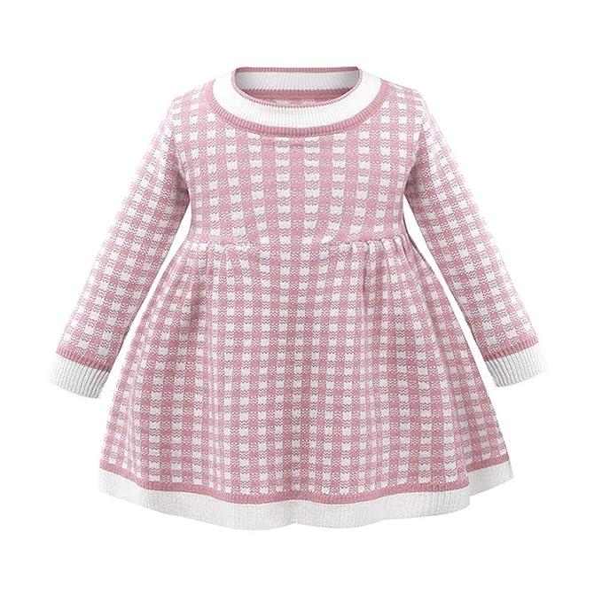 Wang-RX Baby Girls Clothes Otoño Invierno Vestido a Cuadros de ...