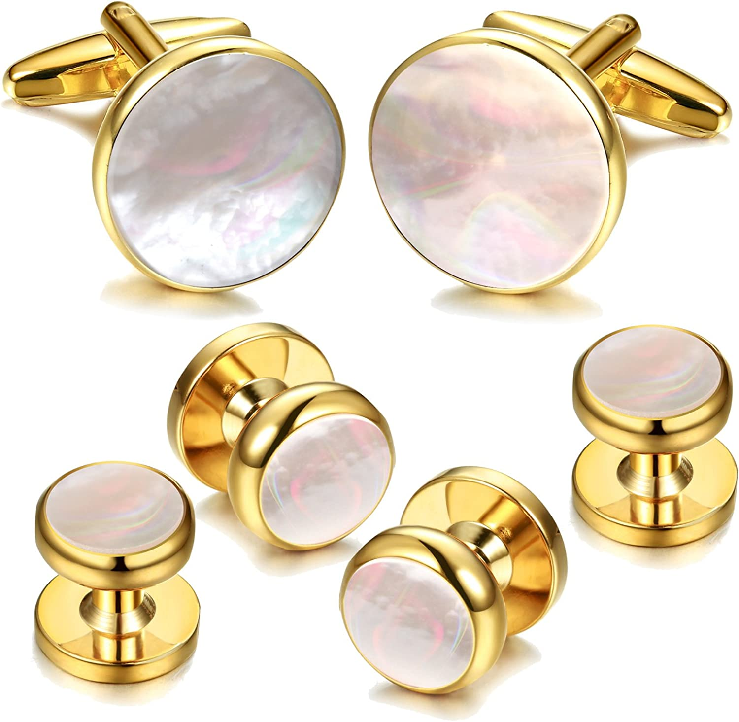 Digabi 6Pcs 18K Gold Plated Mother of Pearl Round Cufflinks and Shirt Stud Set Tuxedo Studs for Shirts