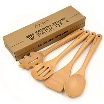 Bamber Wooden 4 Piece Cooking Utensils, Wood Tool And Gadget Set, Wooden  Cooking Spoons
