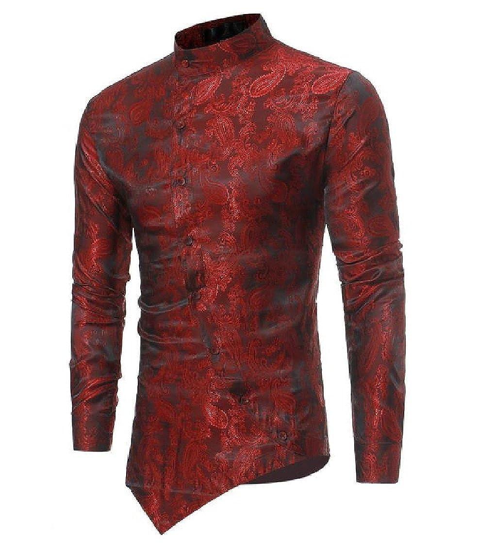Godeyes Mens Pure Color Mandarin Collar Washed China Style Retro Dress Shirt