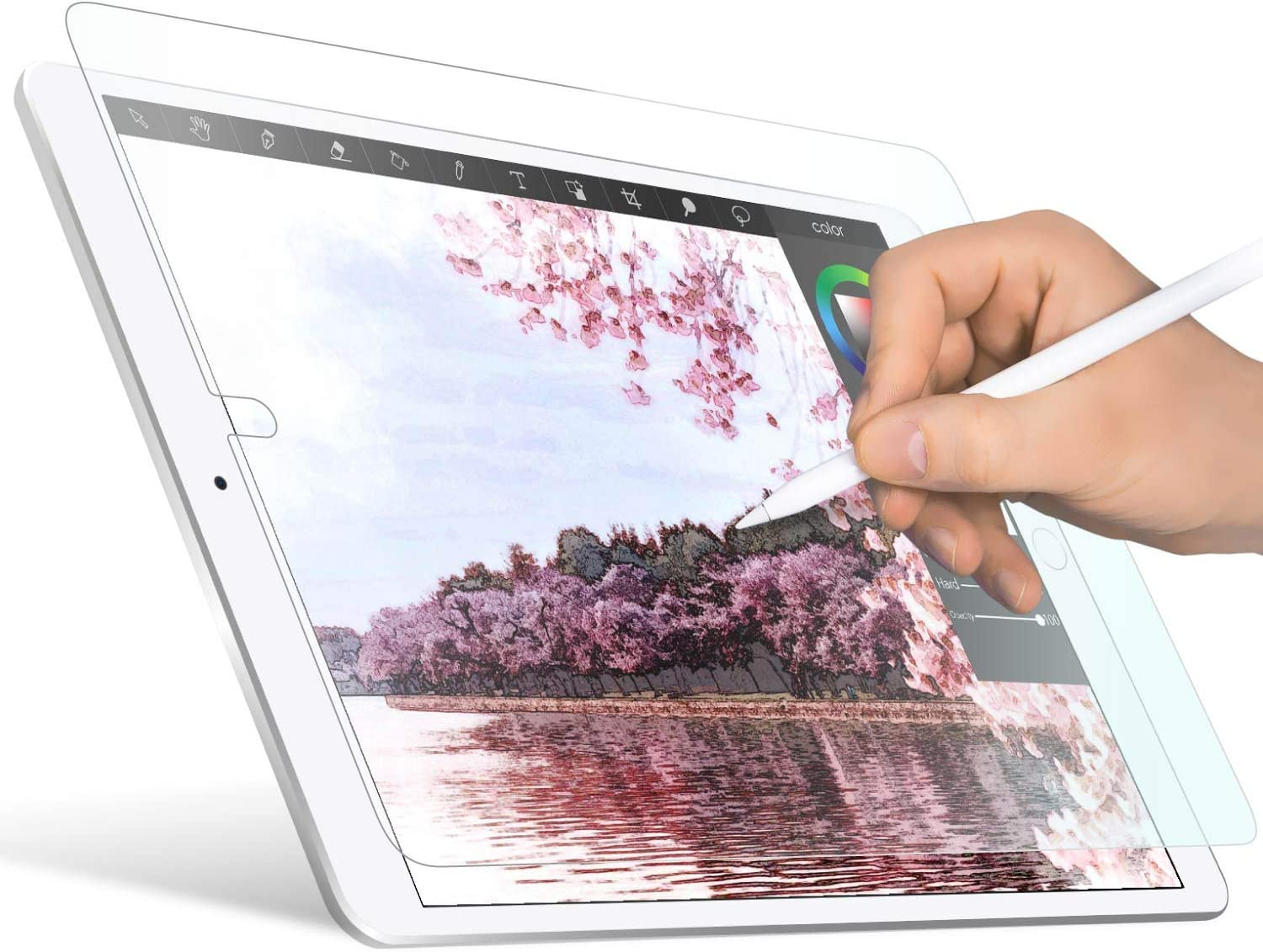 ELECOM Pencil-Feel Screen Protector Compatible with iPad Pro 12.9inch (2018,2020 Model), Designed for Drawing, Anti-Glare Scratch-Resistant,Japan-Made *Smoothness 80*(TB-A20PLFLAPL)