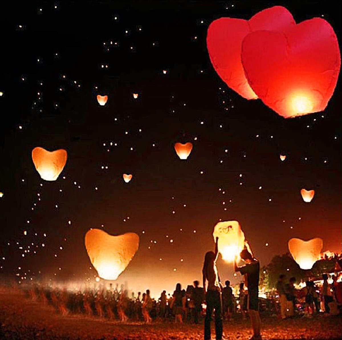 10 Skylaternen Kong Ming Himmelslaternen Skyballons Rot 90 x 60 cm
