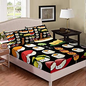 Erosebridal Kids Sushi Fitted Sheet, Japanese-Style Bedding Set Full Size, Cute Food Theme Bed Cover for Girls Boys Children, Kawaii Cartoon Style Bed Sheet for Bedroom Living Room