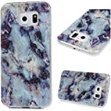 Galaxy S6 Case,Samsung Galaxy S6 Case - Marble Texture Series Shockproof Soft TPU Rubber Skin Bumper Case Colorful Print Marble Patterns Ultra Thin Slim Fit Protective Cover by Badalink - Blue