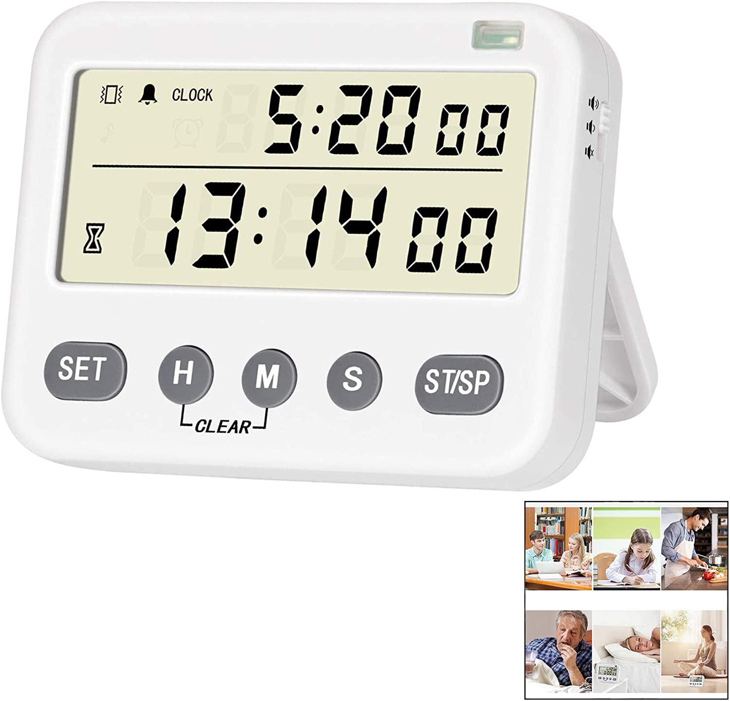 ThermoPro TM01 Kitchen Timer with Count up Countdown Timer//Digital Timer with Touchable Backlit and 12//24 Hour Clock//Loud Ring Magnetic Timer for Cooking Kitchen Classroom Timer for Kids Teachers