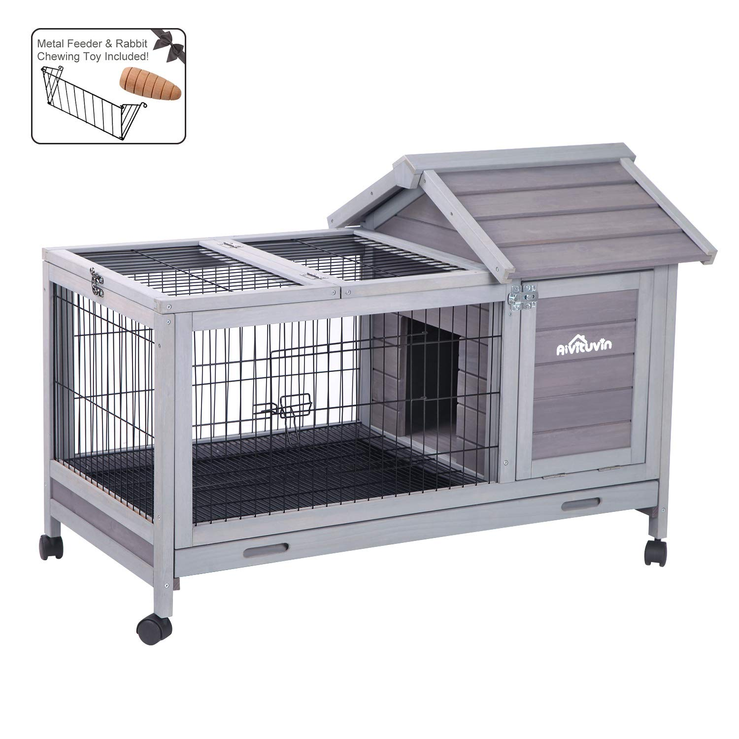 Aivituvin Wooden Rabbit Hutch with Wheels, Bunny Cage with Deeper Leakproof Tray - Upgrade with Metal Wire Floor, 40.4'' Lx23.6 Wx28.3 H by Aivituvin