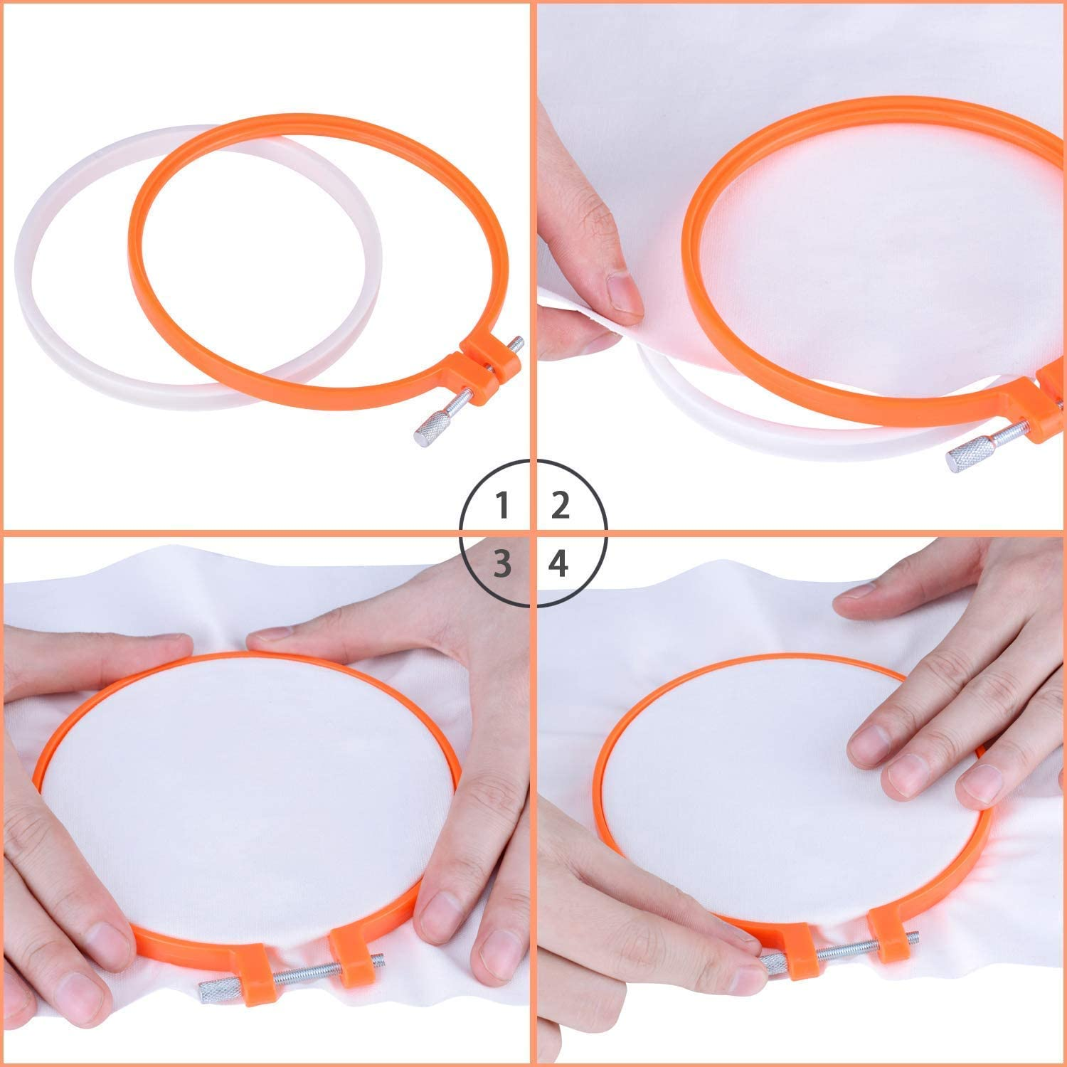 KOMOREBI /4PCS Embroidery Hoops Adjustable DIY Plastic Cross Stitch Hoop Ring for Embroidery and Cross Stitch 4.9inch to 11inch