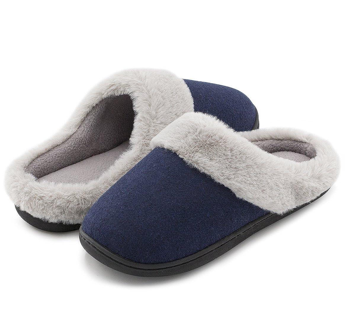 HomeIdeas Women's Woolen Fabric Memory Foam Anti Slip House Slippers Breathable Indoor Shoes