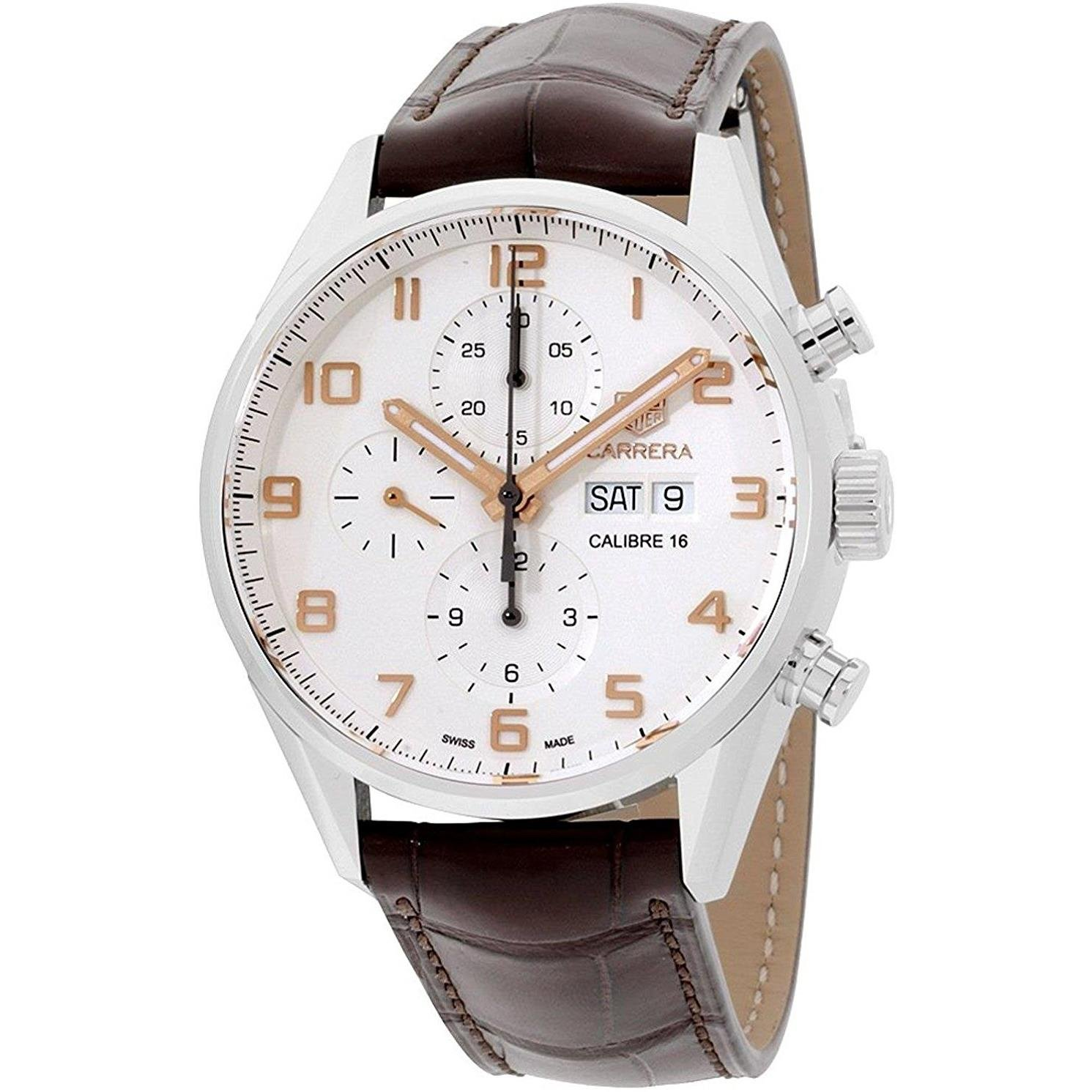 92fd297266e Amazon.com  Tag Heuer Carrera White Dial Brown Leather Strap Men s Watch  CV2A1AC.FC6380  TAG Heuer  Watches