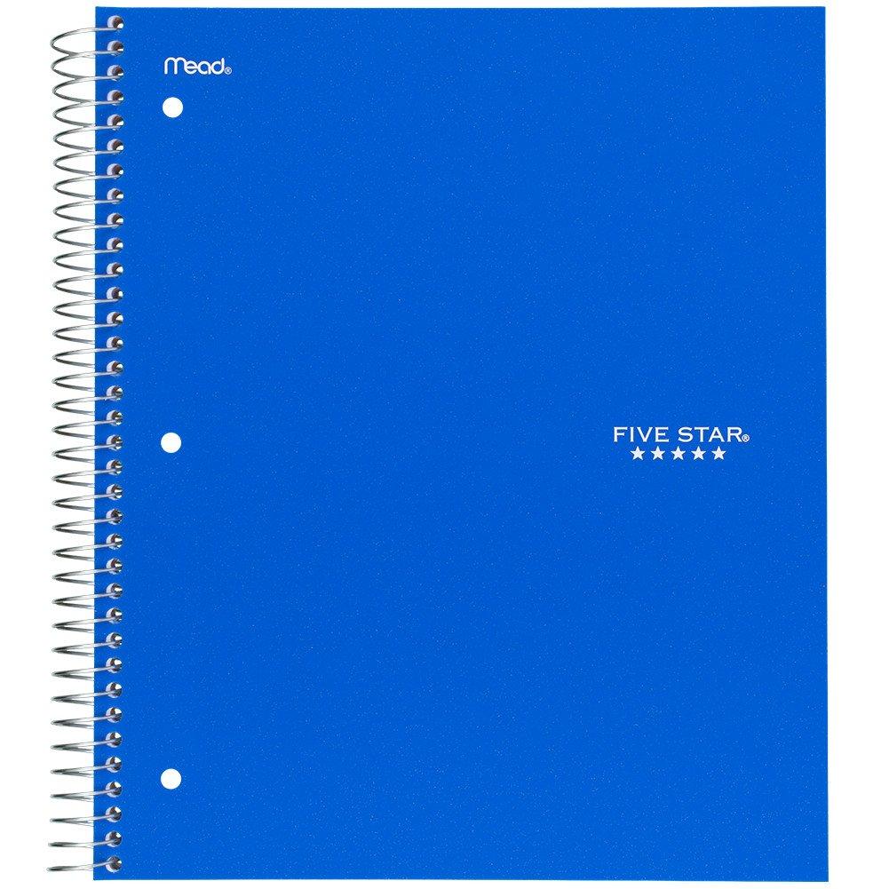 Five Star Spiral Notebook, 5 Subject, Wide Ruled Paper, 200 Sheets, 10-1/2'' x 8'', Cobalt Blue (73198)