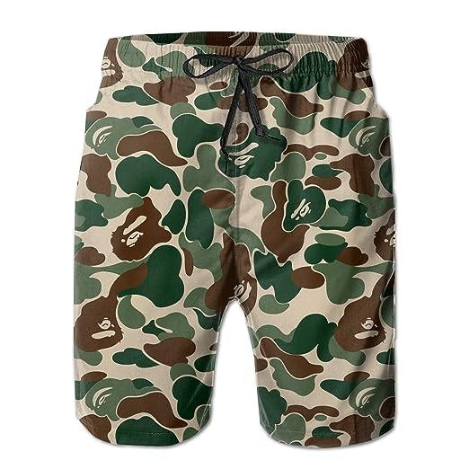 7bc7a045e2c Amazon.com: Men's Swim Trunks Bape Ape Camo Green Casual Sportswear Quick  Dry Beach Shorts for Boys Summer: Clothing
