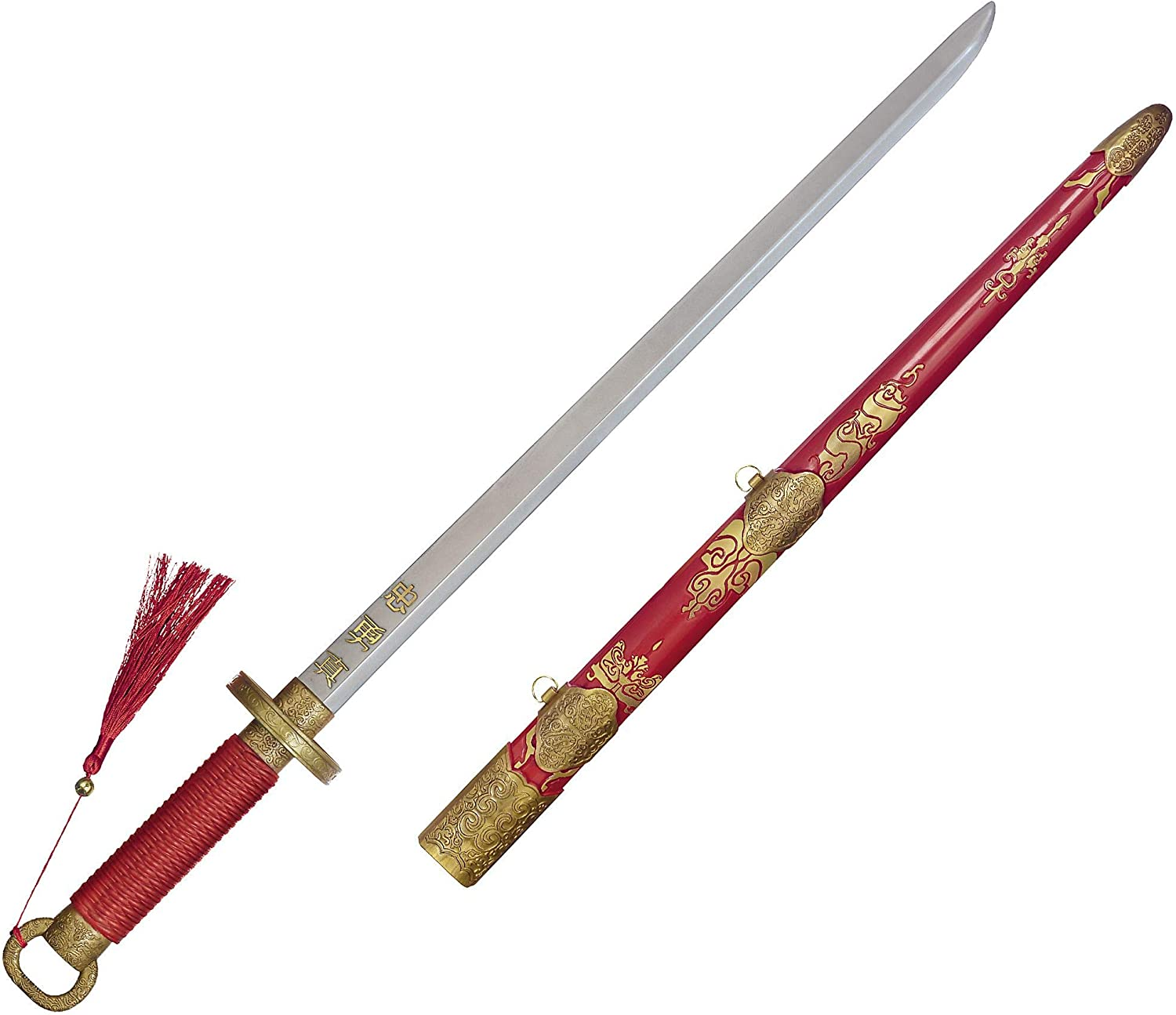 Amazon Com Party City Mulan Plastic Toy Sword Red Fabric Wrapped Handle Live Action Movie Inspired Halloween Costume Prop Clothing