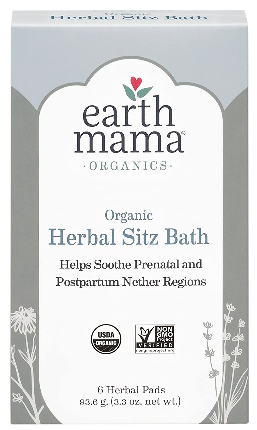 Earth Mama Angel Baby Postpartum Bath Herbs, 6 Herbal Pads, Net Weight 3.3 Ounce 859220000549